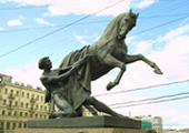 Equestrian Statue by Peter Klodt at Anichkov Bridge at St. Petersburg, Russia