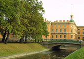 Lower Swan Bridge near Mikhailovsky Castle at St. Petersburg, Russia