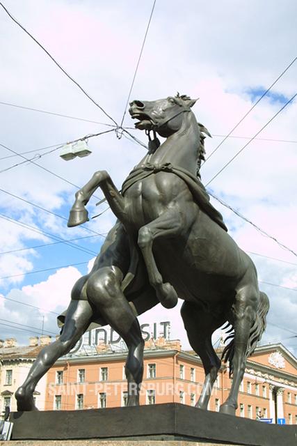Equestrian Statue On Anichkov Bridge At St Petersburg Russia
