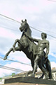 One of Anichkov Bridge's Equestrian Statues at St. Petersburg, Russia