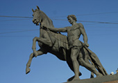 Equestrian Statue on Anichkov Bridge at St. Petersburg, Russia