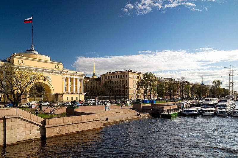 Admiralteyskaya (Admiralty) Embankment in St Petersburg, Russia