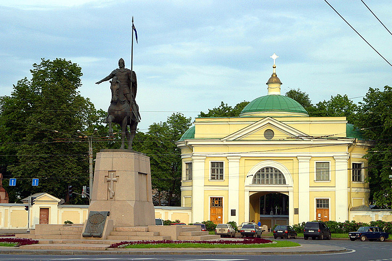 Monument to Prince Alexander Nevsky at the entrance to Alexander Nevsky Monastery in St Petersburg, Russia
