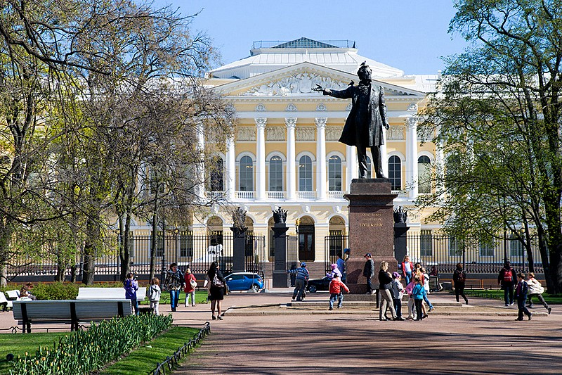 Monument to Alexander Pushkin and the Mikhailovskiy Palace of the Russian Museum on Arts Square in St Petersburg, Russia
