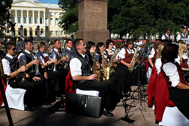 Musicians performing on Ploshchad Iskusstv (Arts Square) in St Petersburg, Russia