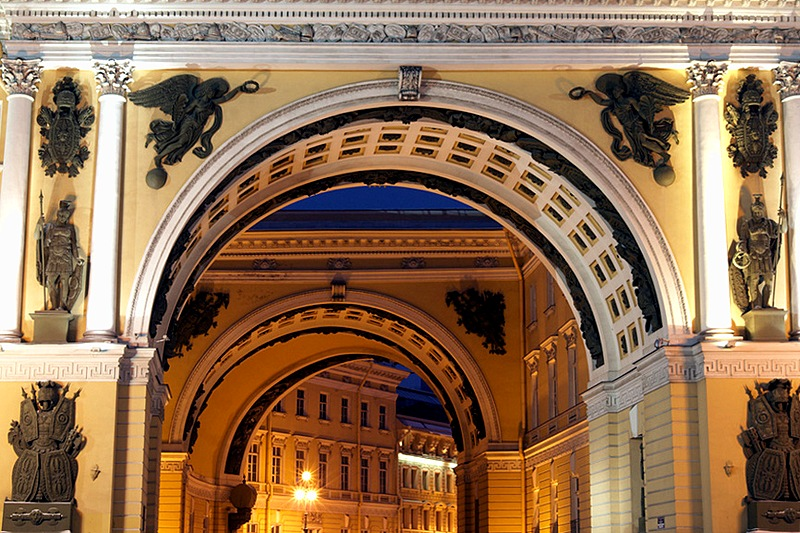 The arch of the General Staff Building in Saint-Petersburg, Russia. Here the Bolshaya Morskaya street begins
