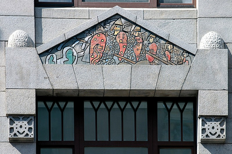 Art Nouveau (Northern Moderne) decorations on Bolshaya Morskaya Ulitsa in Saint-Petersburg, Russia