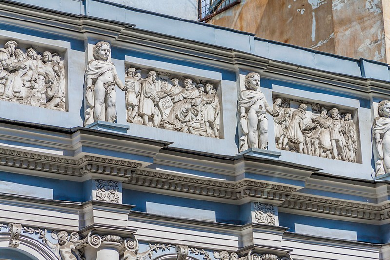 Facade decorations of the Duchess Gagarina Mansion on Bolshaya Morskaya Ulitsa in Saint-Petersburg, Russia