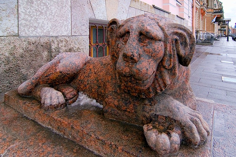 Granite lions on the English Embankment in St Petersburg, Russia