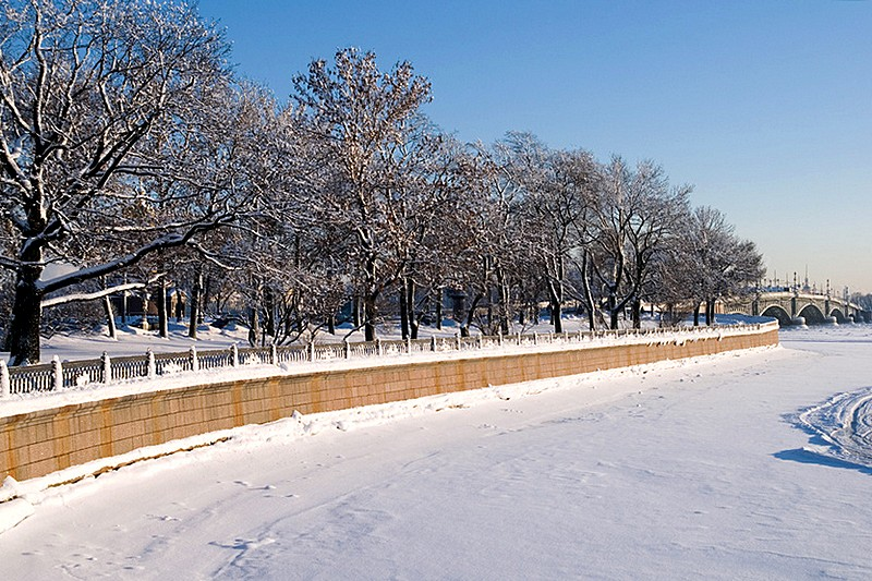 Kronverkskaya Embankment in St Petersburg, Russia in winter
