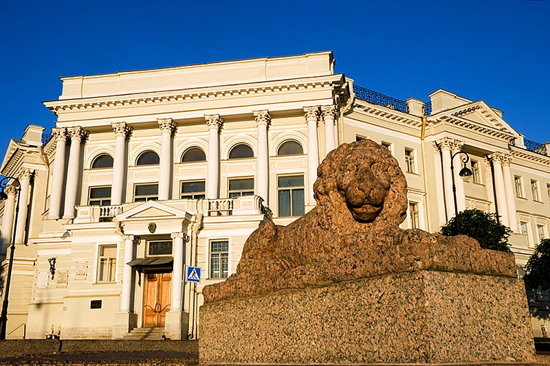 Lion on Makarov Embankment in front of the Institute of Physiology in St Petersburg, Russia
