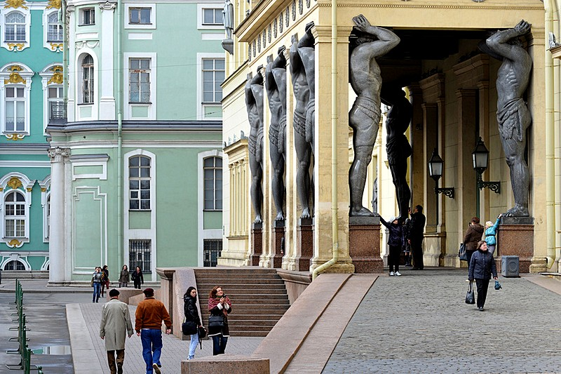 The porch of the New Hermitage wing of the Hermitage Museum facing Millionnaya Ulitsa in St Petersburg, Russia
