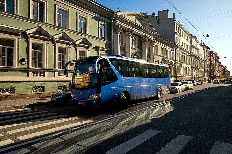 Tour bus on Millionnaya Ulitsa in St Petersburg, Russia