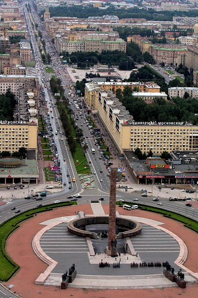 Panorama of Moskovsky Prospekt and Victory Square (Ploshchad Pobedy) in St Petersburg, Russia
