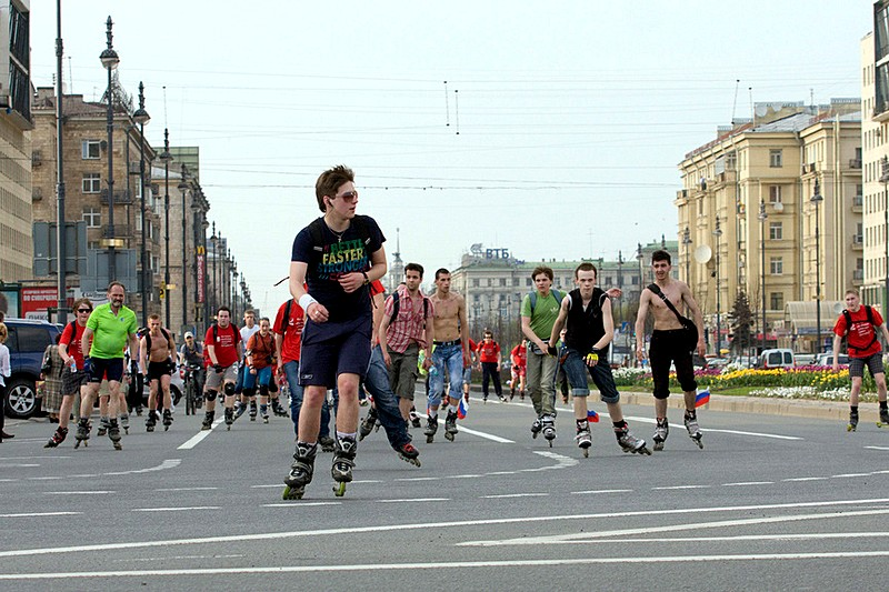 Roller-skating event on Moskovsky Prospekt in St Petersburg, Russia