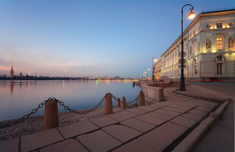 Dvortsovaya (Palace) Embankment and the Hermitage Museum in St Petersburg, Russia