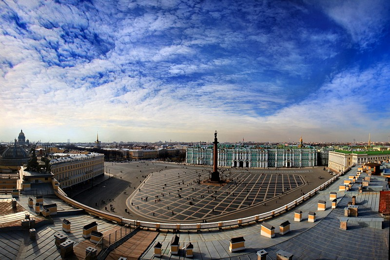 Palace Square seen from the roof of the General Staff Building in St Petersburg, Russia