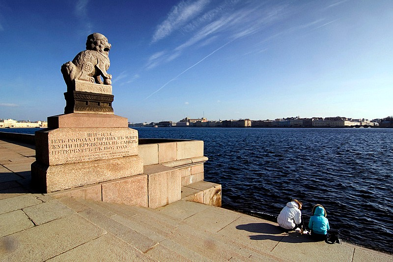 Shi-tsza (Chinese lion) on Petrovskaya Embankment in St Petersburg, Russia