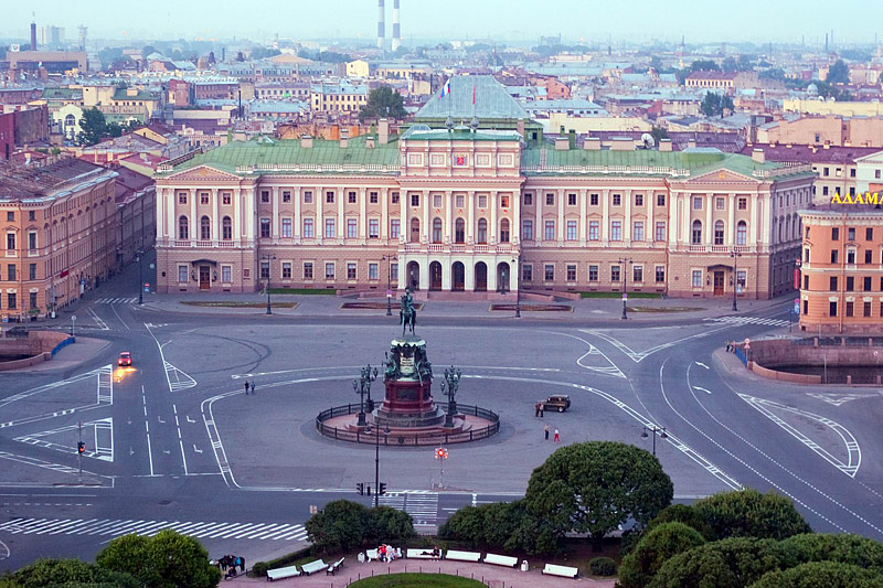 St. Isaac's Square seen from the colonnade of St. Isaac's Cathedral in St Petersburg, Russia