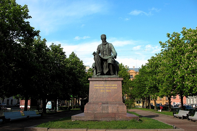 Monument to Nikolay Rimsky-Korsakov on Teatralnaya Ploshchad in Saint Petersburg, Russia