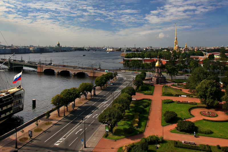 Trinity Square and panorama of the Neva River in St Petersburg, Russia
