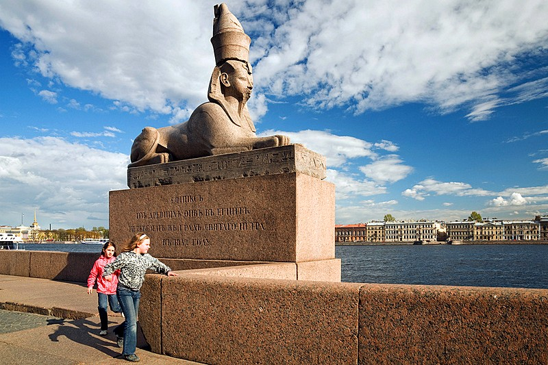 Ancient Egyptian Sphinx on Universitetskaya Embankment in St Petersburg, Russia