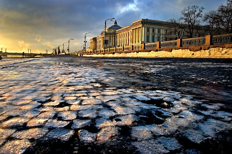 Winter view of Universitetskaya Embankment in Saint Petersburg, Russia