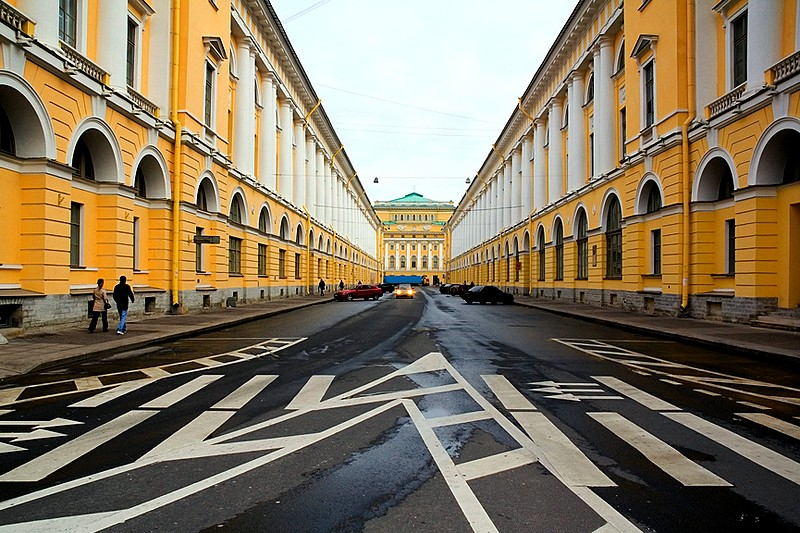 Golden Rule proportions of Ulitsa Zodchego Rossi (Architect Rossi Street)  in St. Petersburg, Russia
