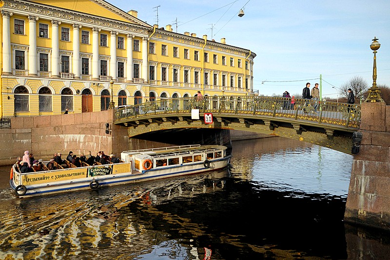 Adamini House and Malo-Konyushenniy Bridge in St. Petersburg, Russia