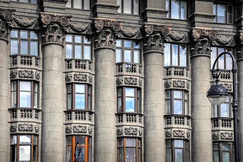 Columns spanning four floors of the Markov Apartment Buildings in Saint-Petersburg, Russia