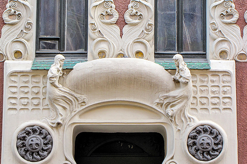 Decorative details on the facade of the Apartment Building of Duke Leichtenberg in Saint-Petersburg, Russia