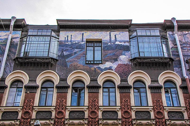Elaborate mosaic on the Apartment Building of Duke Leichtenberg in St Petersburg, Russia