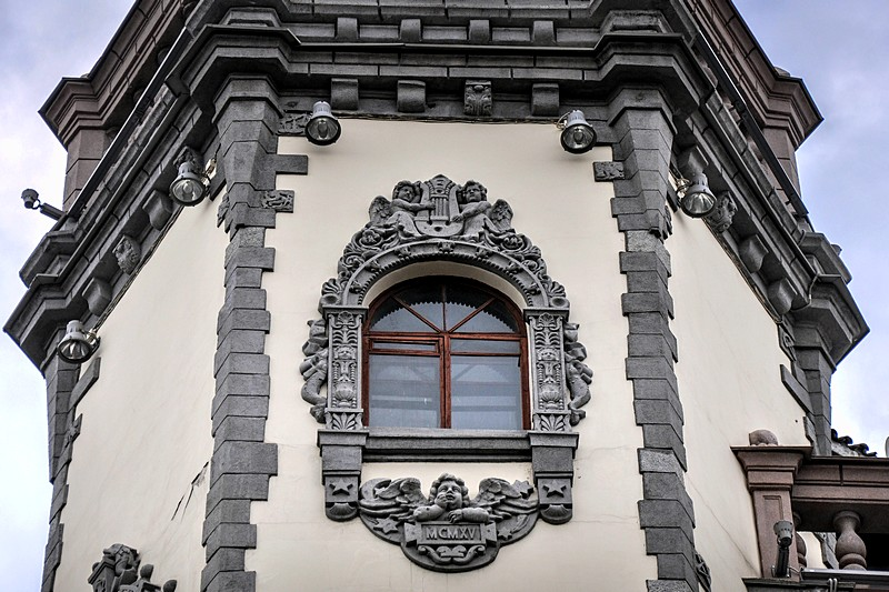 Mock Gothic decoration on the Rosenstein House in St Petersburg, Russia