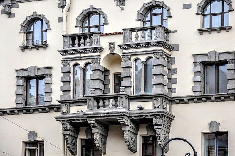 Part of the facade of the Rosenstein House in St Petersburg, Russia