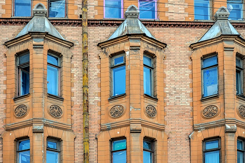 Bay windows of the Schroeter Apartment building in Saint-Petersburg, Russia