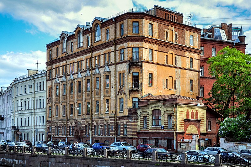 Schroeter Apartment building on the Fontanka River in St Petersburg, Russia