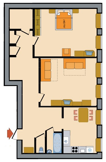Two Room Apartments Nevsky Prospekt Floorplan in St. Petersburg, Russia