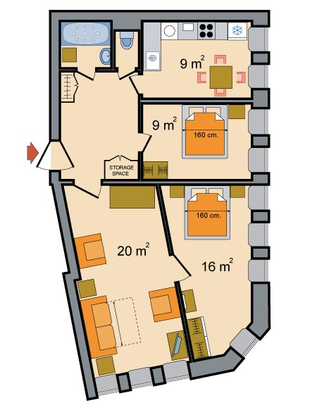 Three Room Apartments Ostrovskogo Ploshchad Floorplan in St. Petersburg, Russia