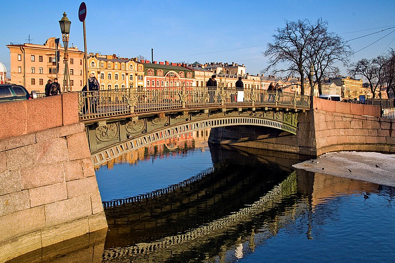 First Engineers Bridge over the Moyka River in St Petersburg, Russia