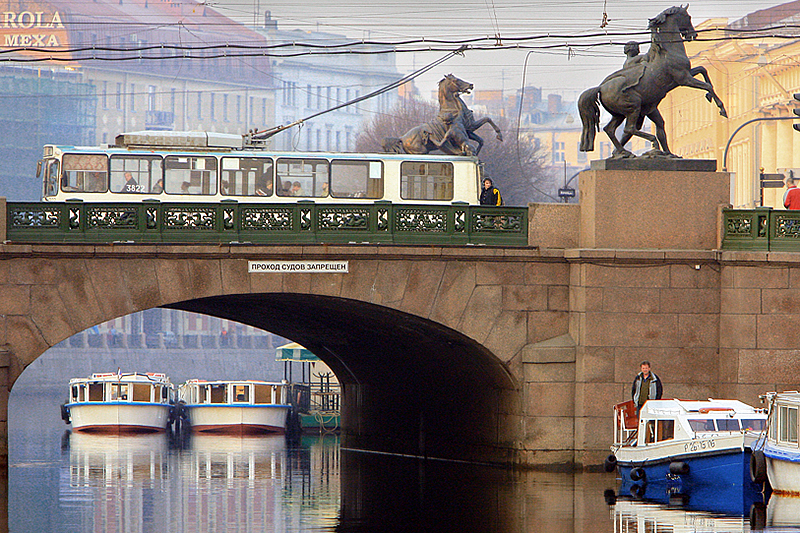 Horse Tamers statues on Anichkov Bridge in St Petersburg, Russia