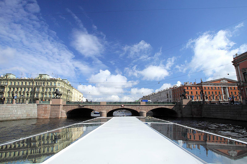 View of Anichkov Bridge from a tour boat in St Petersburg, Russia