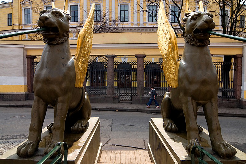 Griffins on Bank Bridge over the Griboedov Canal in Saint-Petersburg, Russia