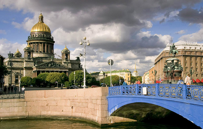 View of St. Isaac's Cathedral, the Monument to Nicholas I and the Blue Bridge in Saint-Petersburg, Russia