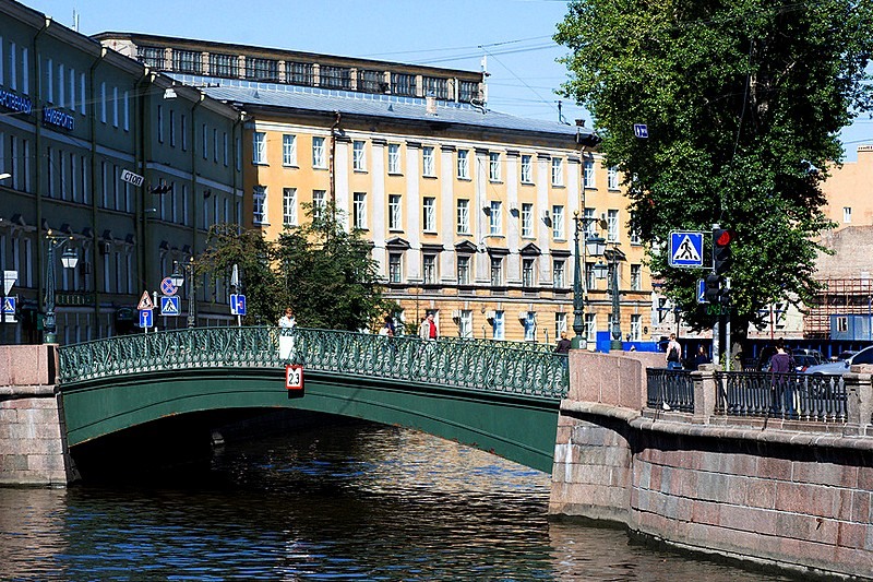 Demidov Bridge over the Griboedov Canal in St Petersburg, Russia
