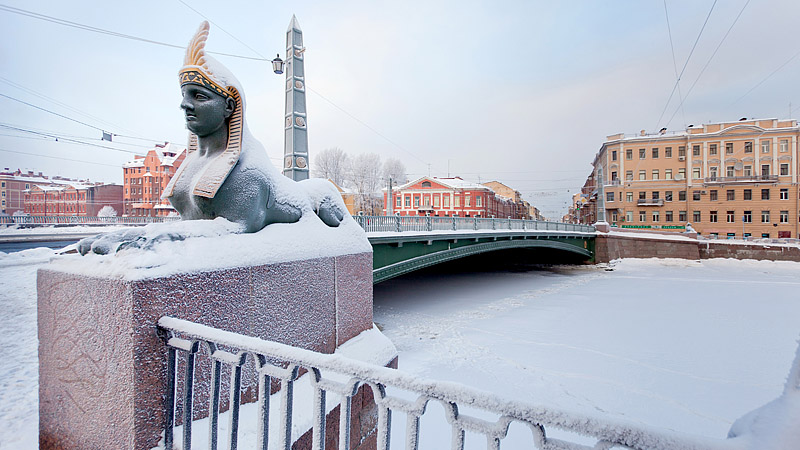Winter view of the Egyptian Bridge in St Petersburg, Russia
