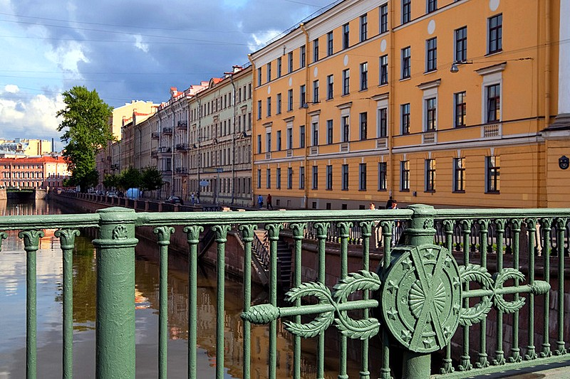 Wrought-iron fence of the Green Bridge over the Moyka River in Saint-Petersburg, Russia