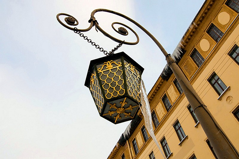 Lantern on Italian Bridge over the Griboedov Canal in St Petersburg, Russia