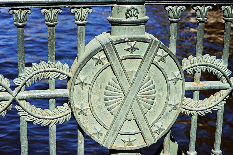 Wrought-iron railings of Italian Bridge over the Griboedov Canal in Saint-Petersburg, Russia