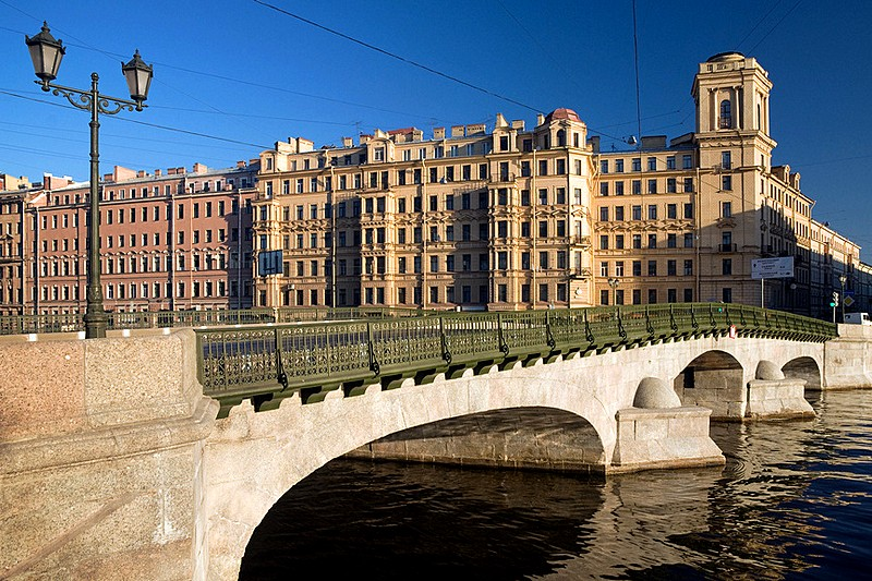 Izmailovskiy Bridge over the Fontanka River in St Petersburg, Russia