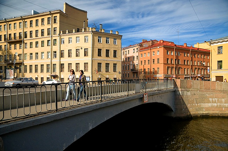 Kharlamov Bridge over the Griboedov Canal in St Petersburg, Russia